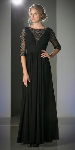 CLEARANCE - Chiffon Mother of Bride Long Dress Black Lace Mid Sleeves (Size 12)