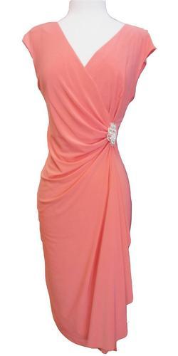 Modest Coral Dress Cap Sleeves V Neckline Chiffon Knee Length
