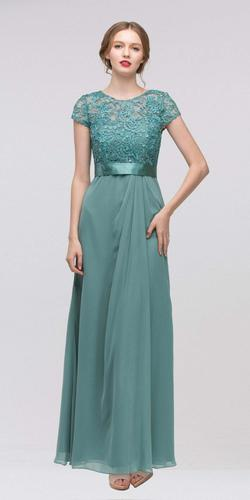 Plus Size Lace Top Evening Gown Jade Short Sleeves Chiffon Skirt
