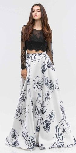 Black Long Sleeves Top White Print Skirt Two-Piece Prom Gown