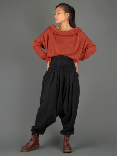 Sarouel laine noir uni