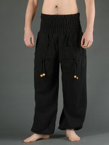 Pantalon bouffant laine noir uni (homme)
