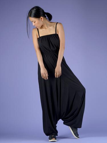 Combinaison Sarouel coton avec poches - Noir
