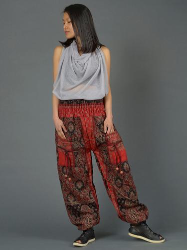 Pantalon bouffant laine imprimé petit cachemire fleurs