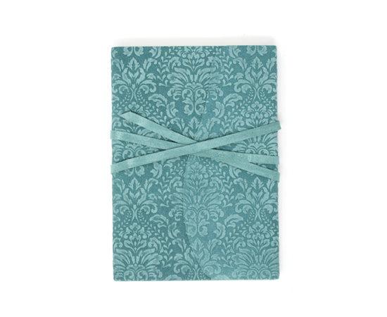 Barocco Suede Notebook - Wrap Style - Aqua Marina