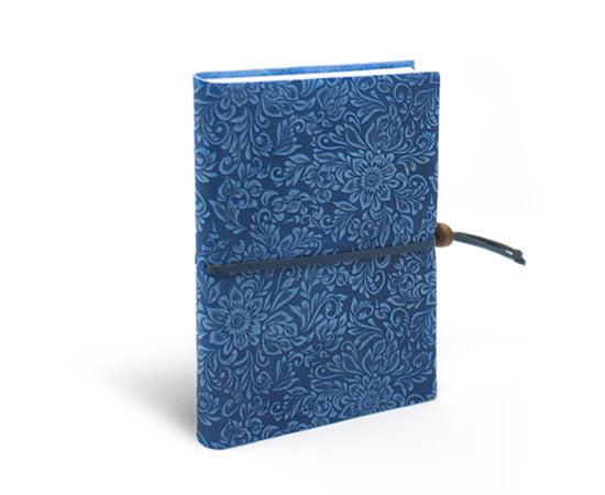 Fiori Suede Notebook w/Closure - Celestial Blue