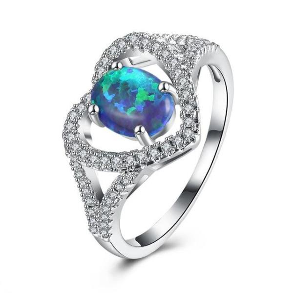 Crystal Lined Heart Ring