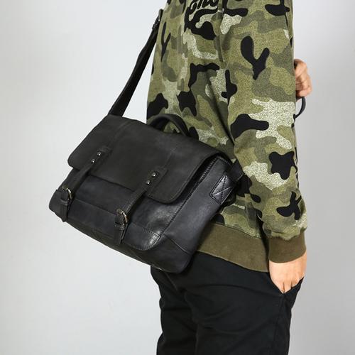 c45b780b7c Handmade Full Grain Leather Briefcase Men s Messenger Bag 13   Laptop Bag  in Gray Black 15003