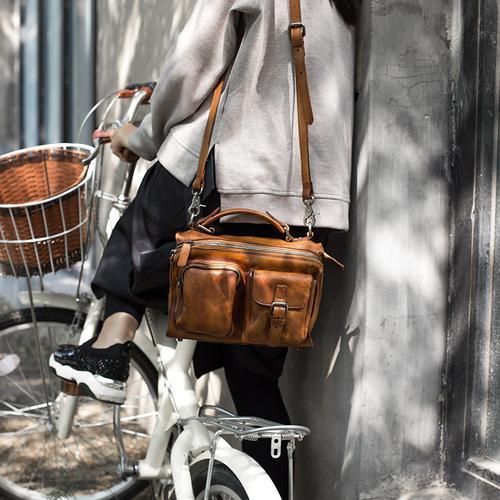 6e61ef8c18b13 Handmade Full Grain Leather Handbag Messenger Crossbody Bag Small Purse SP03