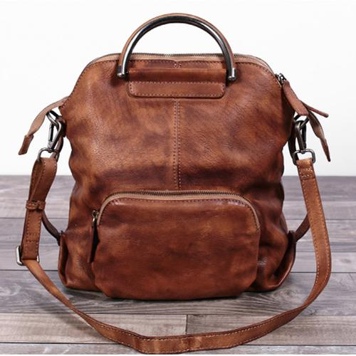 3d0b6b7452 Handmade Women s Fashion Full Grain Leather Handbag Messenger School  Backpack in Brown WF57