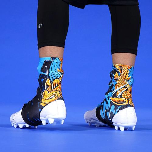 3a4f3bda4 Koi Gold Blue Spats   Cleat Covers