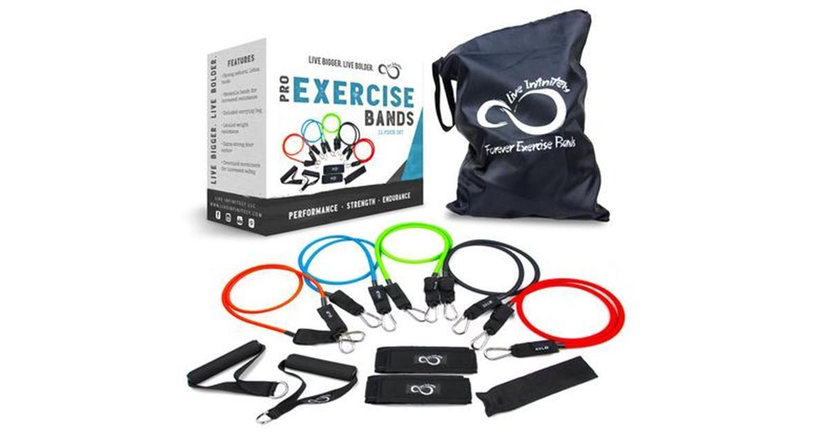 "11 Piece Set Of 48"" Stackable Resistance Bands"