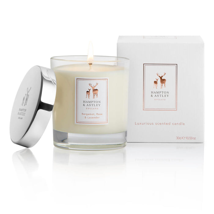 Hampton and Astley Luxurious Scented Large Candle 235g, Bergamot, Rose and Lavender
