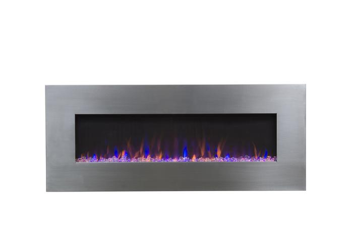"""AudioFlare 80024 Stainless 50"""" Recessed Electric Fireplace"""