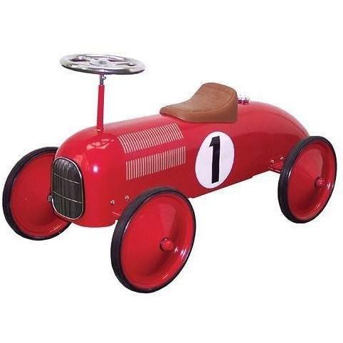 Red Metal Vintage Speedster Ride On Kids Car