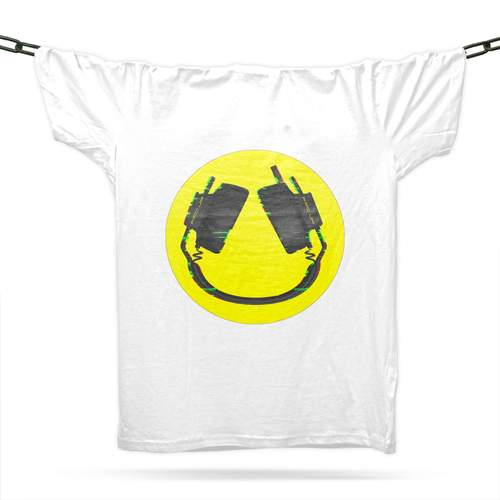Headphone Smiley T-Shirt / White