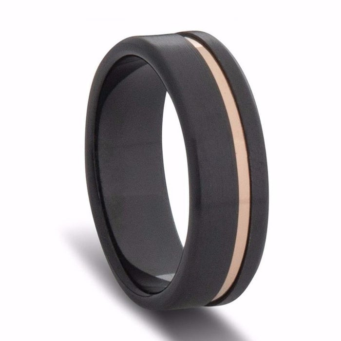 a58df50a596 Custom Black Zirconium and Gold Striped Wedding Ring