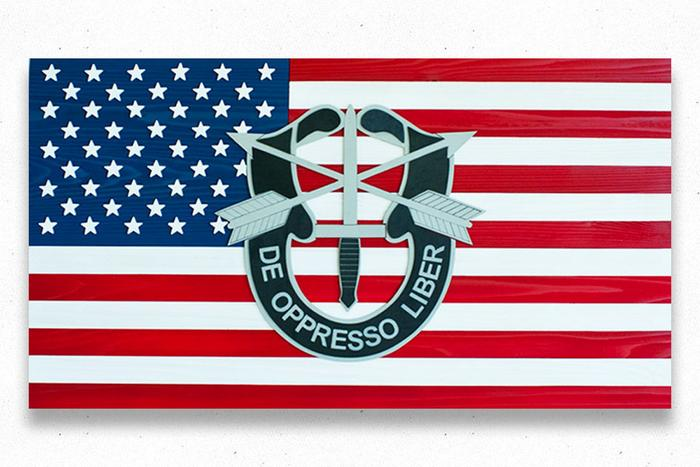 Special Forces USA Wood Flag