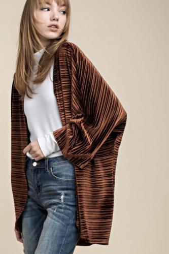 Brown Crinkle Velvet Kimono Cardigan Top