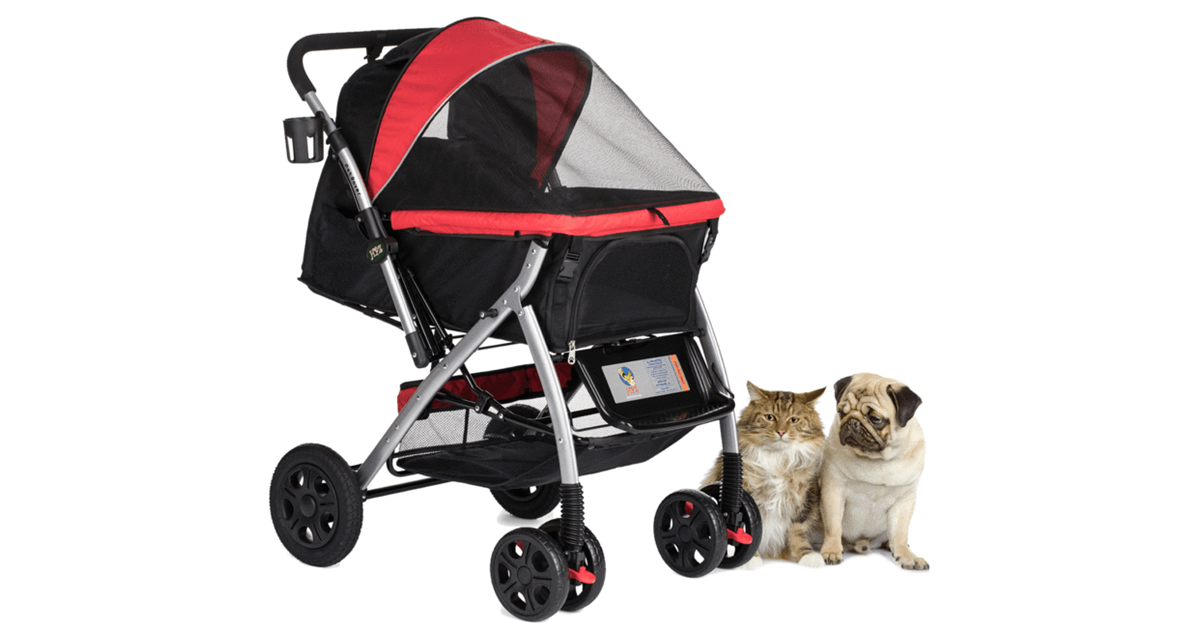 PET ROVER™ Premium Stroller for Small/Medium/Large Dogs, Cats and Pets (Red)