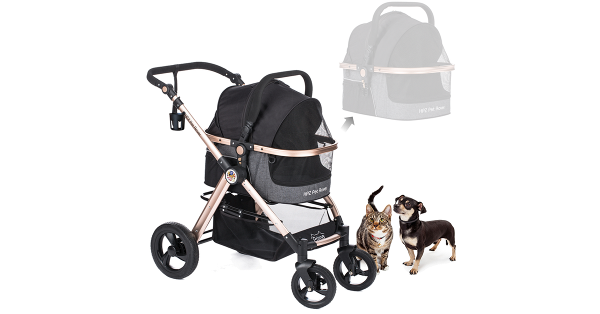 PET ROVER PRIME™ Luxury 3-in-1 Stroller for Small/Medium Dogs, Cats and Pets (Black)