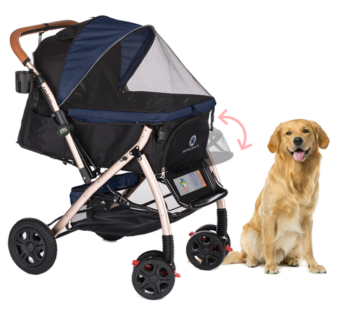 PET ROVER™ XL Extra-Long Premium Stroller for Small/Medium/Large Dogs, Cats and Pets (Navy Blue)