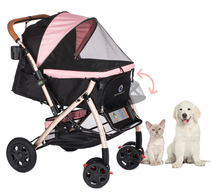 PET ROVER™ XL Extra-Long Premium Stroller for Small/Medium/Large Dogs, Cats and Pets (Pink)
