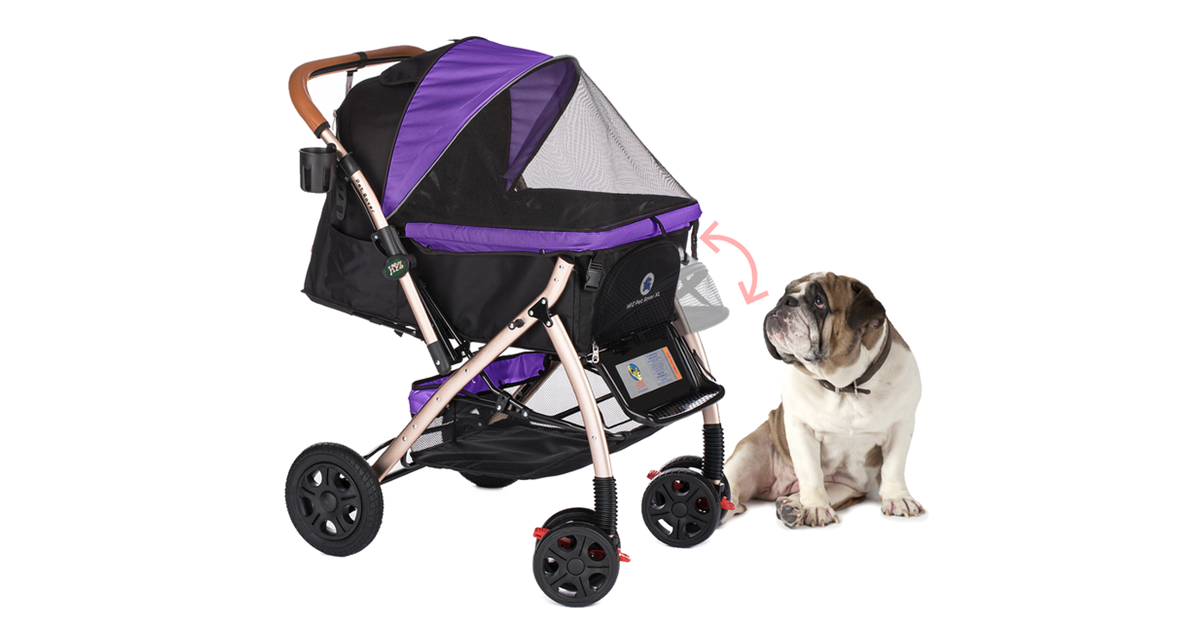 PET ROVER™ XL Extra-Long Premium Stroller for Small/Medium/Large Dogs, Cats and Pets (Purple)