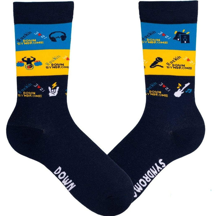 d7561691370 Navy Striped Rockin Down Syndrome – Unisex Crew Socks