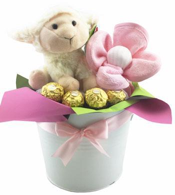 Baby Girl Basket - Premium Pippins Lamb Tin Bucket Girl
