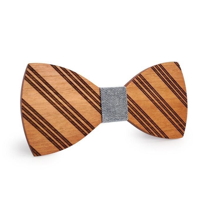 d96c10b28fd2 Black & White Thin Striped Wooden Bow Tie