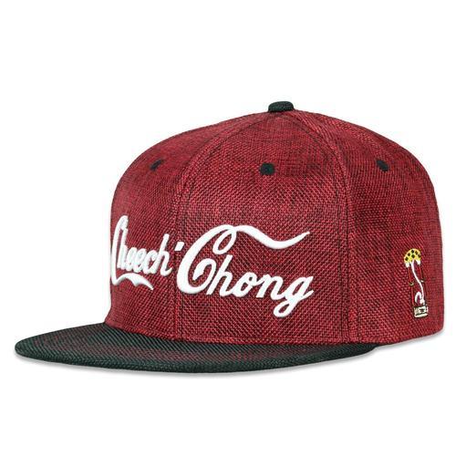 quality design 1b1ec 81e28 Cheech and Chong Script Red Snapback Hat