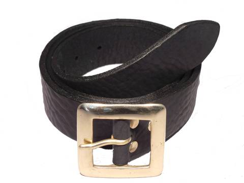 Square Brass 1 1/2 Inch Leather Belt