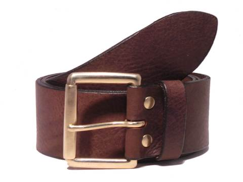 Brass Roller 2 Inch Leather Belt