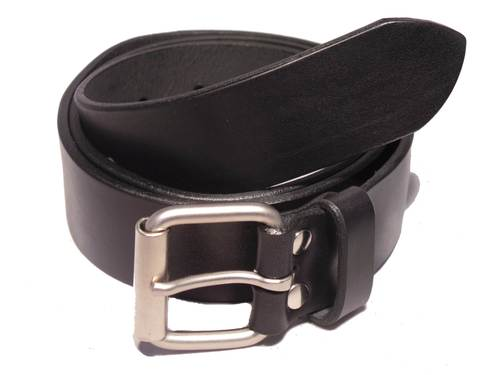 Matt Silver Classic Roller 1 1/2 Inch Leather Belt