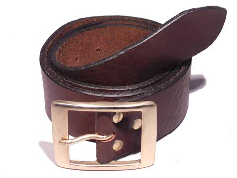Brass Rectangle 1 3/4 Inch Leather Belt