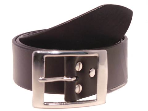 Silver Rectangle 1 3/4 Inch Leather Belt