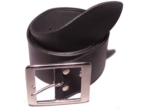 Mens Silver Rectangle 2 Inch Leather Belt