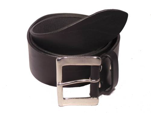 Silver Half Rectangle 2 Inch Leather Belt