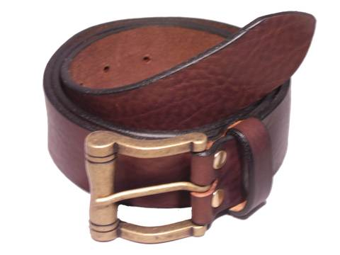 Matt Brass Scroll Buckle 1 1/2 Inch Leather Belt