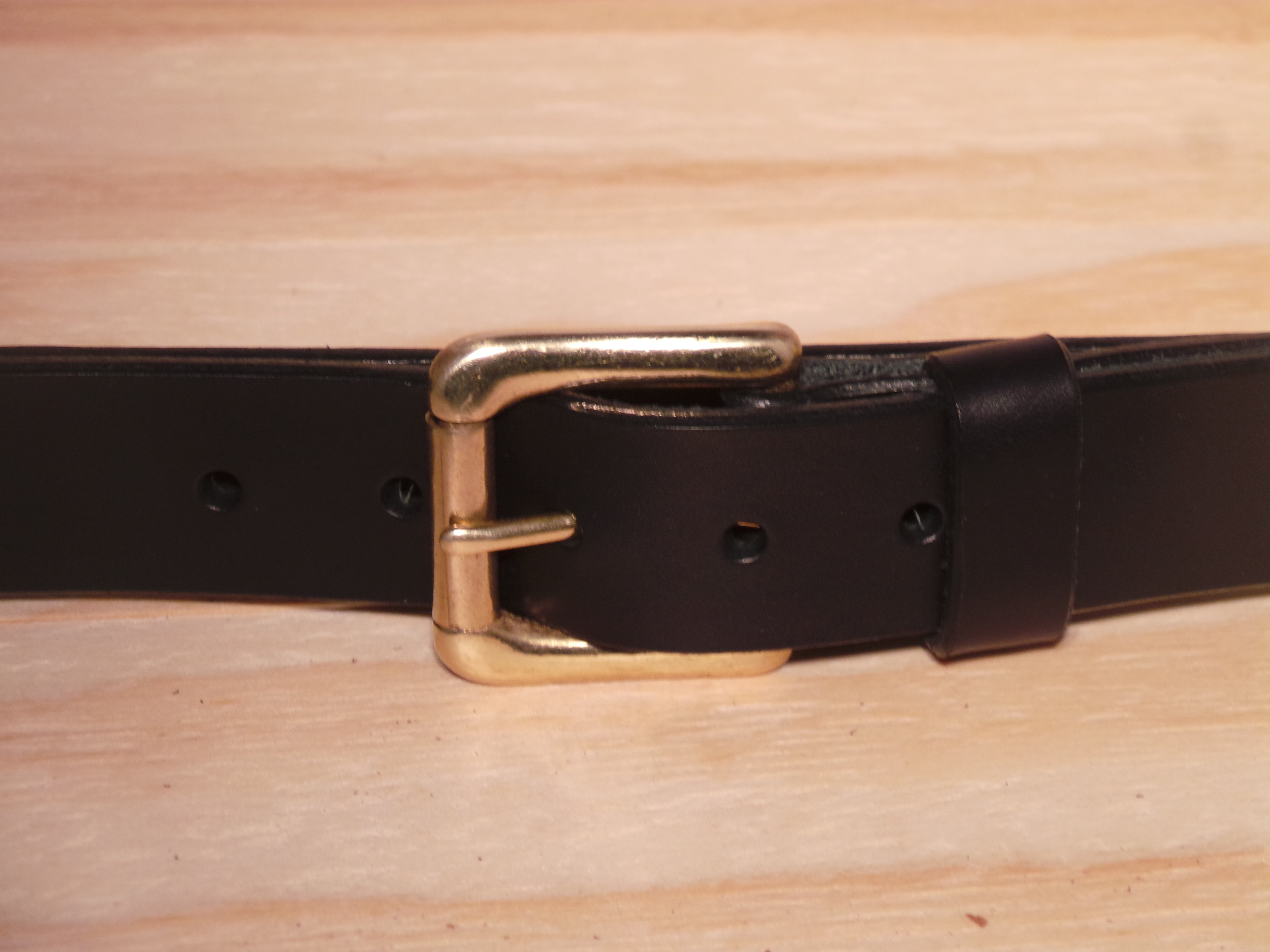 Brass Roller 1 1/4 Inch Leather Belt