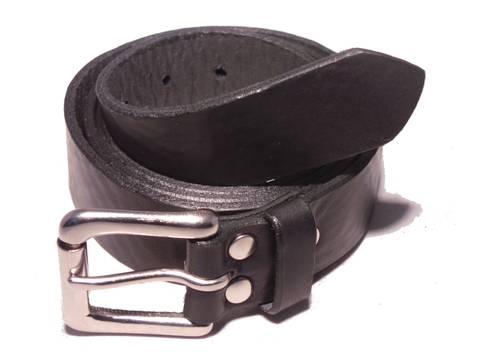 Silver Roller 1 1/4 Inch Leather Belt