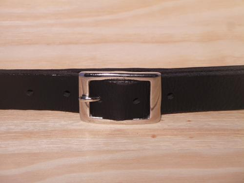 Silver Rectangle 1 Inch Leather Belt
