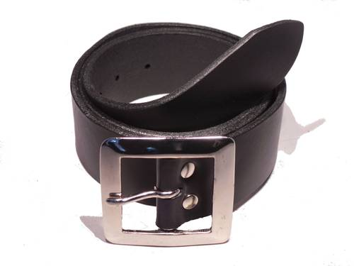 Silver Square 1 3/4 Inch Leather Belt