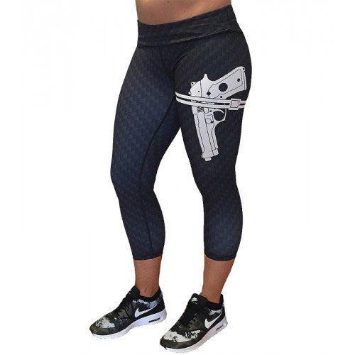 Gun Strapped - Carbon Fiber Pattern Capri Leggings