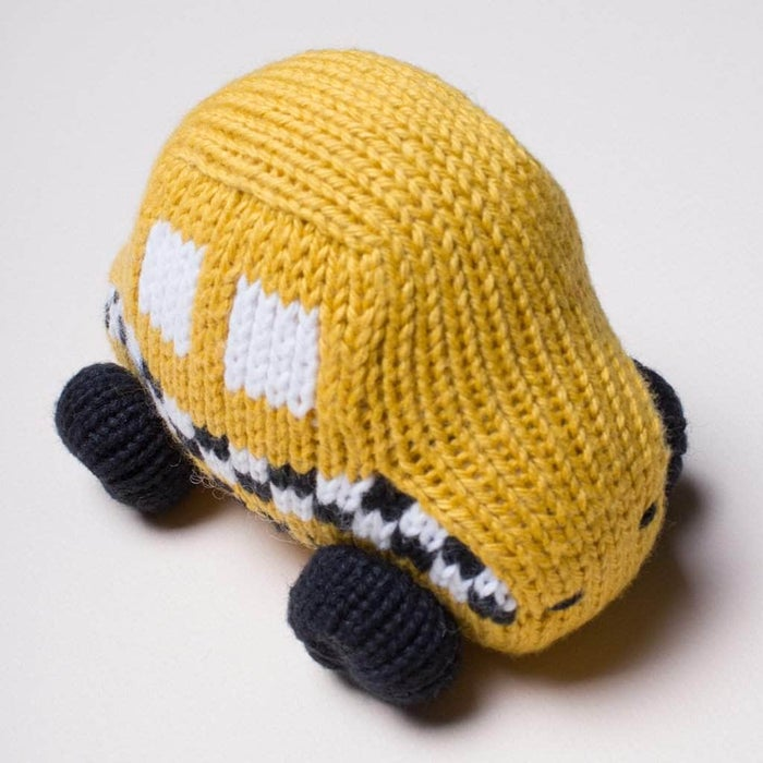 Organic Cotton Handmade Baby Toy - Yellow/Green Taxi Rattle