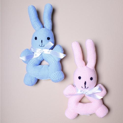Organic Bunny Rattle with Handles Baby Toy
