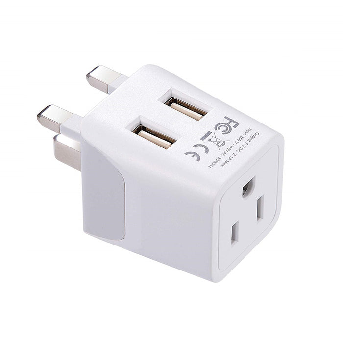 UK, England Travel Adapter - Type G - Dual USB (CTU-7)