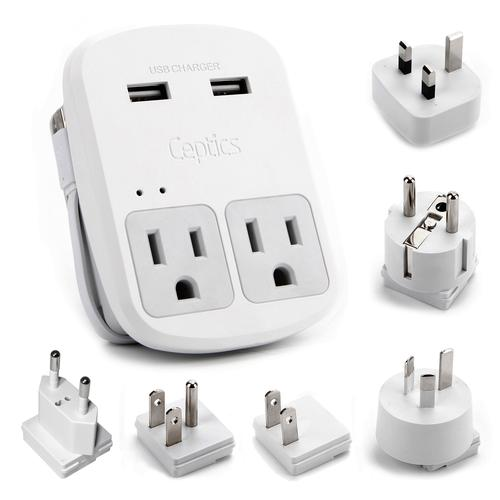Ceptics World Travel Adapter Kit | 2 USB + 2 US Outlets - Grounded