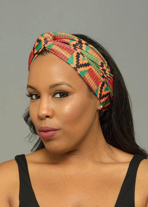 Zoya African Print Stretch Infinity Headband (Red/Green Kente)- Clearance